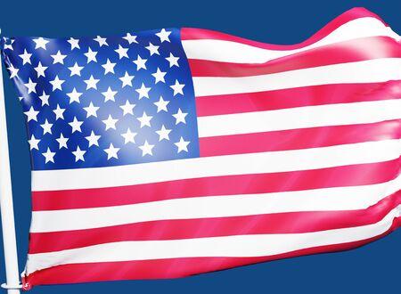 3D rendering banner USA flag waving texture