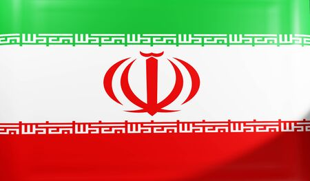 3D rendering flag of Iran waving in wind