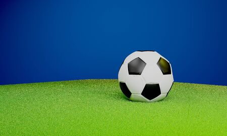 soccer ball on green lawn 3D rendering