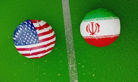 USA vs Iran soccer ball on green lawn 3D rendering