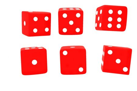 red playing dice in 3D rendering on white background Stock Photo