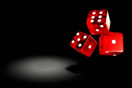 red playing cube in 3D rendering on black background