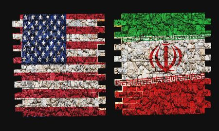 USA vs. Iran conflict with the texture of flags on a brick in 3D rendering