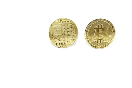 bitcoin coin on black background with reflective surface 3D rendering Stock Photo