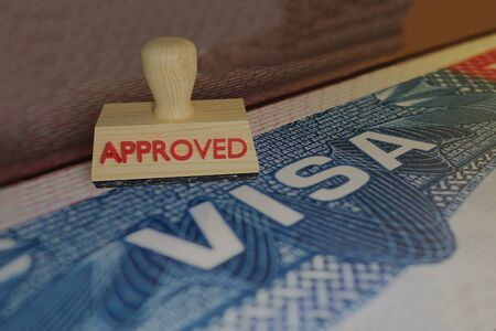 stamp approved 3D rendering of wood print on visa trevel Stock Photo