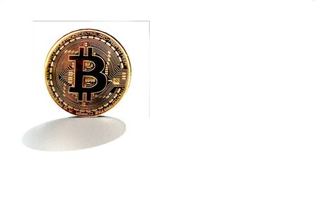 bitcoin coin on white background with reflective surface 3D rendering