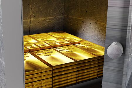 safe with gold on white background 3D rendering