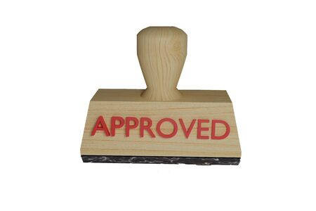 stamp approved 3D rendering of wood print on white background