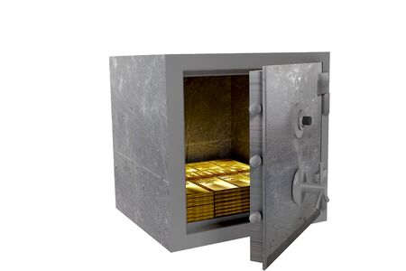 safe with gold drawer on white background 3D rendering
