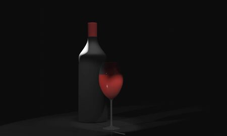 wine bottle with glass 3D rendering on black background