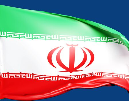 3D rendering flag of Iran waving in the wind