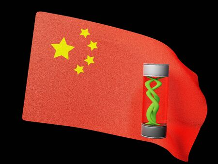 virus in vitro on the background flag in China