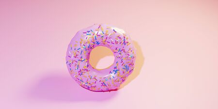 the 3D rendering doughnut that Americans love is made on a pink
