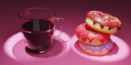 coffee and doughnuts 3D rendering which is loved by Americans is made on a pink