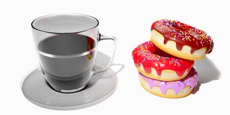 coffee and doughnuts 3D rendering which is loved by Americans is made on a white Stock Photo