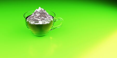 coffee and mountains 3D rendering that Americans love is made on a grass background Stock Photo