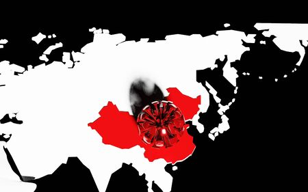 Map of China ON the world MAP with deadly virus. 3D RENDERING Standard-Bild
