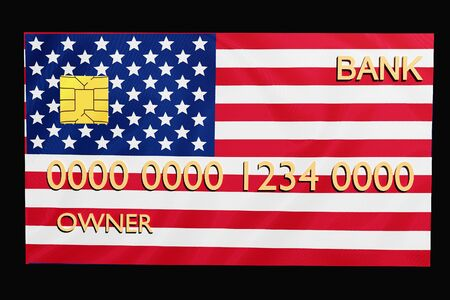 credit card in 3D render with the USA flag on a black background Stock Photo