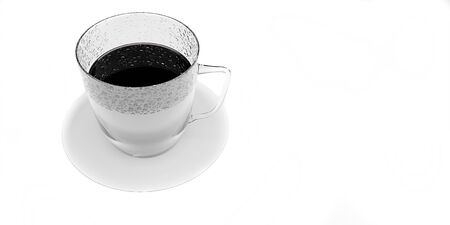 3D rendering coffee that Americans love is made on a white background