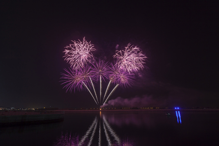Colourful fireworks exploding over a dark night sky Stock Photo