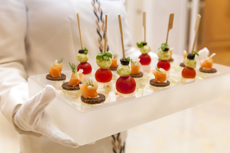 finger food canapes presented in an elegant way stock photo