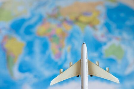 The model plane on background map. travel, tourism, air travel. Stock Photo