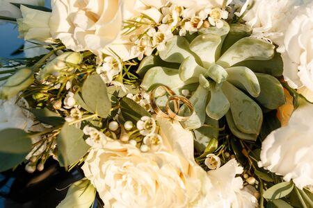 Bouquet of flowers. Bridal bouquet. Wedding bouquet. Floristic. Wedding ring. Wedding bouquet of white flowers. Stok Fotoğraf