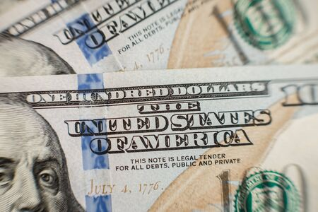 Abstract Detail of the Newly Design U.S. One Hundred Dollar Bill