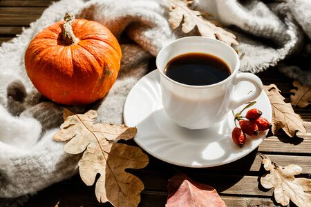 beautiful autumn composition with coffee. autumn leaves and pumpkins on a rustic tree background. the concept of the fall season.