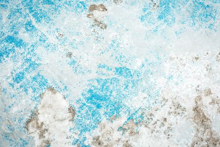 Beautiful Abstract Grunge Decorative Light Blue Cyan Painted Stucco Wall Texture. Handmade Rough Winter Christmas Paper Wide Background With Copy Space.