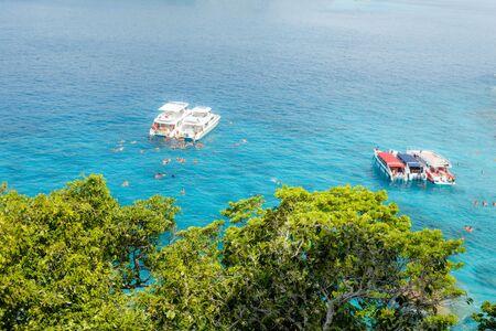 Beautiful view with blue sea and speed boats on Similan island, Similan No.8 at Similan national park, Phuket, Thailand. Stockfoto