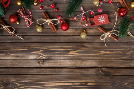 Brown wooden background with festive Christmas decoration, copy space. Stockfoto