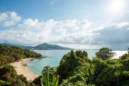 Landscape of natural sea beach on Phuket, Thailand. Travel Thailand, Beautiful destination place Asia, Summer holiday outdoor vacation trip. 版權商用圖片