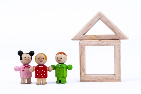 doll house: wooden toy, imagine the house of the future Stock Photo