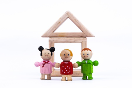 doll house: wooden toy, happiness family and loving home