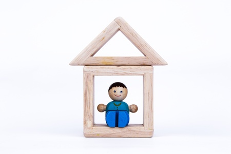 mortage: wooden toy, a dream house home, real estate or mortage Stock Photo