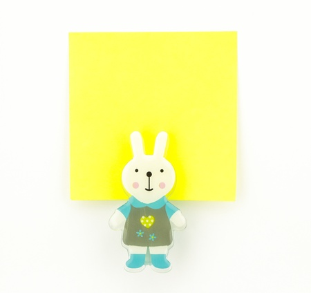 post-it, yellow note pad with rabbit clip Stock Photo - 20382360