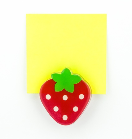 post-it, yellow note pad with strawberry clip Stock Photo - 20382356