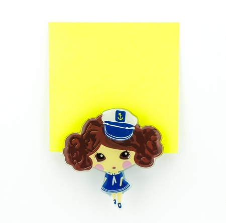 post-it, yellow note pad with navy girl clip photo