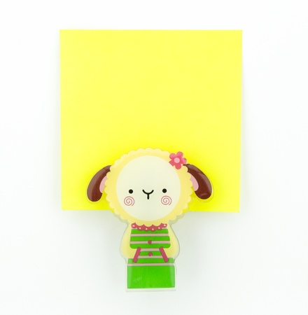 post-it, yellow note pad with sheep clip