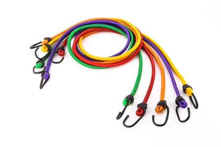 tightly: colorful rubber rope with hook, office supplies