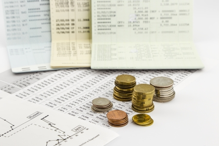 coin, cash and bank book concepts and ideas for saving money,