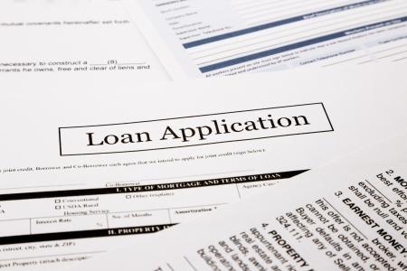 ローン アプリケーションのフォーム、ビジネスおよび財務の概念