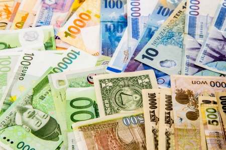 currency exchange: currency paper, banking and finance, money savings