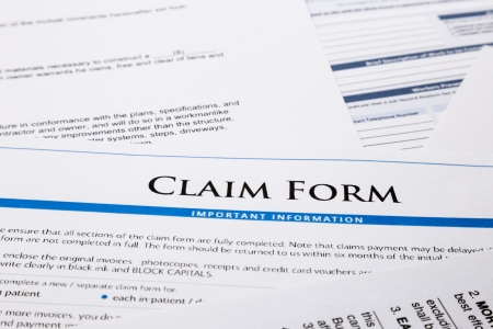 legal document: claim form, paperwork and legal document, accident and insurance concepts