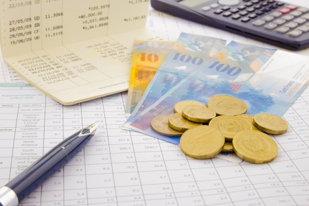 currency and paper money of Switzerland, saving account and money concept Standard-Bild