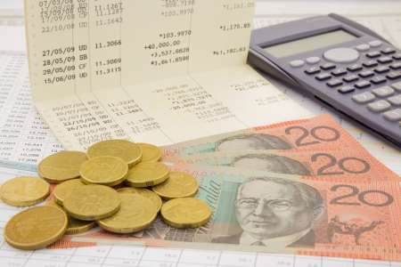 hoard: currency and paper money of Australia, saving account and money concept Stock Photo