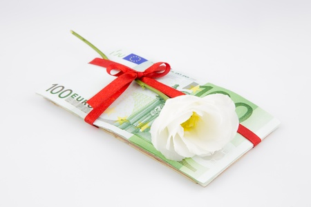 eurozone: gift of money with flower for celebration, eurozone currency Stock Photo