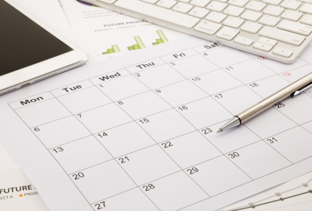 agenda: blank calendar for note, work management with timetable