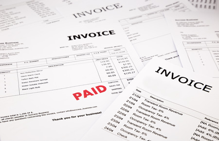 paid stamp: difference invoices and bills with red paid stamp, concept and ideas